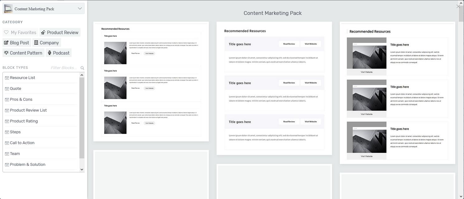 Content Block Vorlagen