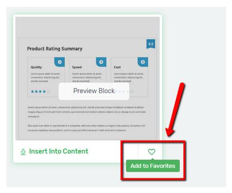 Content Block Favorit kennzeichnen