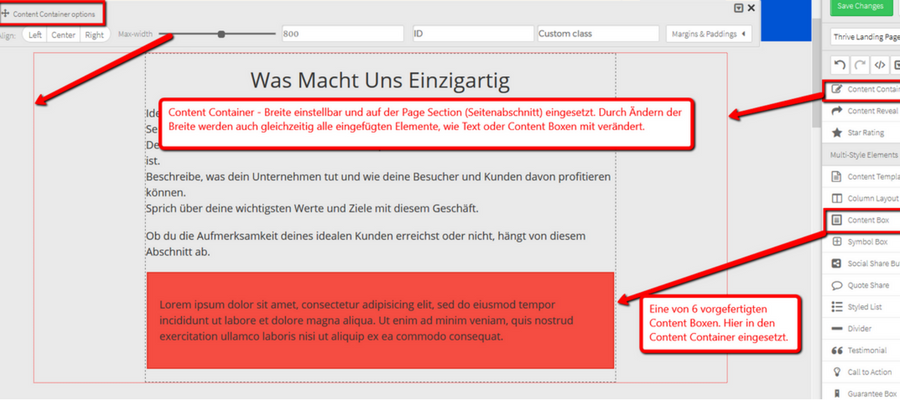 Landing Page Content Container in Section eingefügt