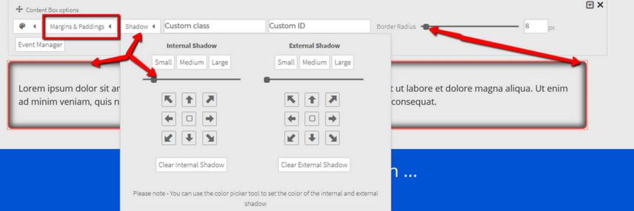 Landing Page Content Box ist ein extra Element