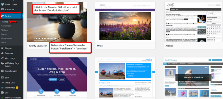 Themes bei WordPress