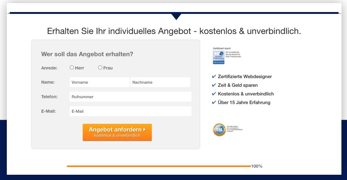 QOON® Leadgenerator - Die Kontaktdaten des Interessenten werden abgefragt